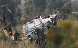 El helicóptero donde perdió la vida el Lic. Francisco Blake en 2011.